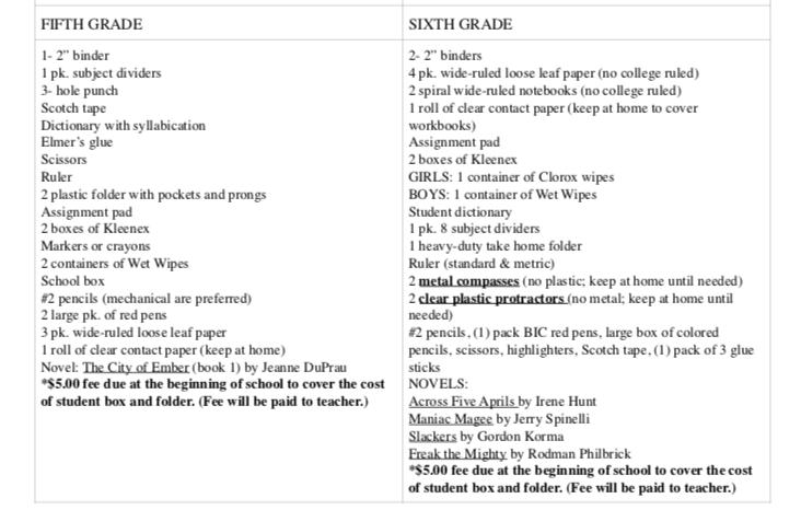 9th grade supply list 2020